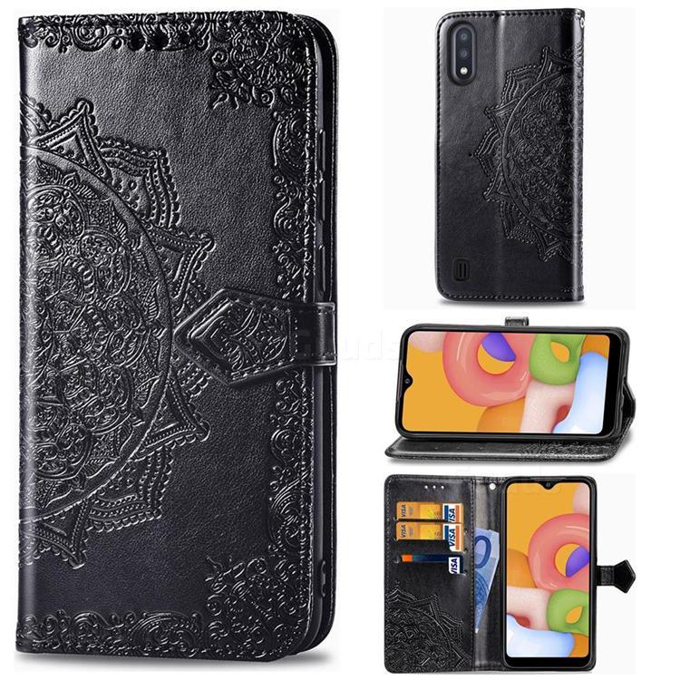 Embossing Imprint Mandala Flower Leather Wallet Case for Samsung Galaxy M01 - Black