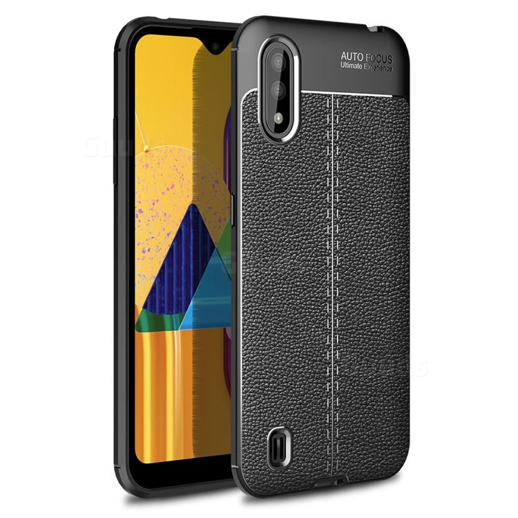 Luxury Auto Focus Litchi Texture Silicone TPU Back Cover for Samsung Galaxy M01 - Black