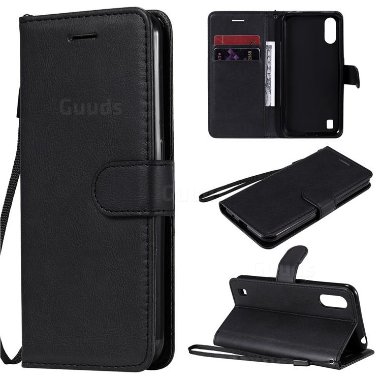 Retro Greek Classic Smooth PU Leather Wallet Phone Case for Samsung Galaxy M01 - Black