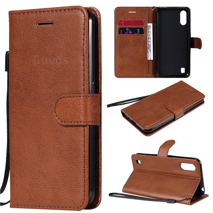Retro Greek Classic Smooth PU Leather Wallet Phone Case for Samsung Galaxy M01 - Brown