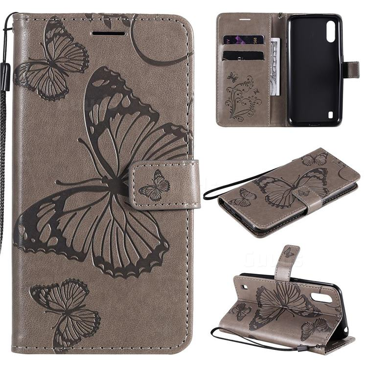 Embossing 3D Butterfly Leather Wallet Case for Samsung Galaxy M01 - Gray