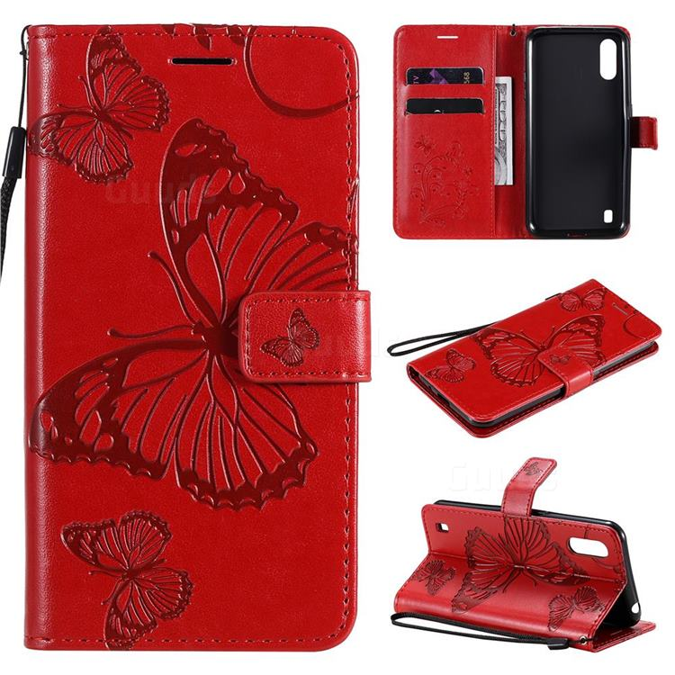 Embossing 3D Butterfly Leather Wallet Case for Samsung Galaxy M01 - Red