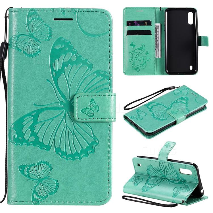 Embossing 3D Butterfly Leather Wallet Case for Samsung Galaxy M01 - Green