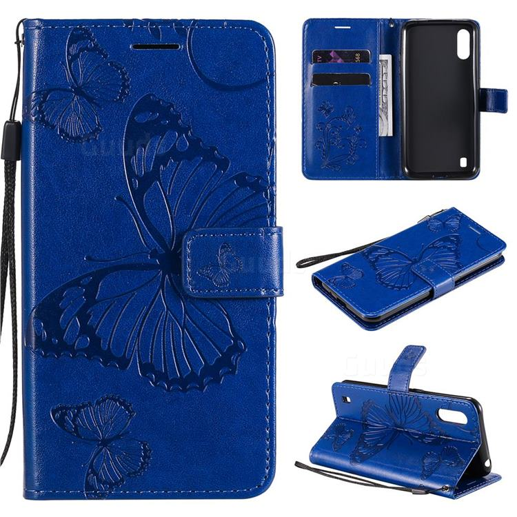 Embossing 3D Butterfly Leather Wallet Case for Samsung Galaxy M01 - Blue