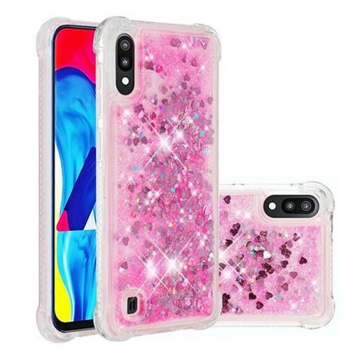 Dynamic Liquid Glitter Sand Quicksand TPU Case for Samsung Galaxy M10 - Pink Love Heart