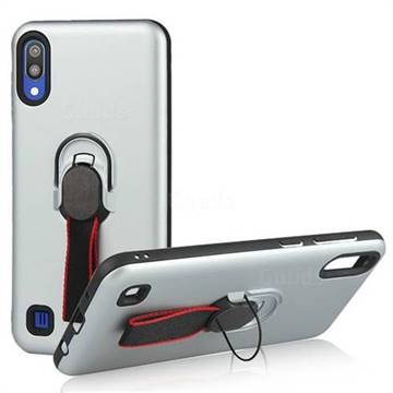 Raytheon Multi-function Ribbon Stand Back Cover for Samsung Galaxy M10 - Silver