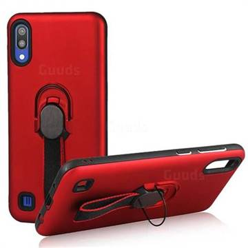 Raytheon Multi-function Ribbon Stand Back Cover for Samsung Galaxy M10 - Red