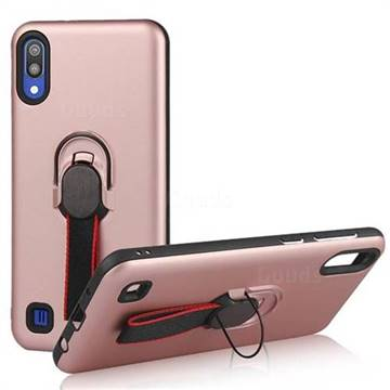 Raytheon Multi-function Ribbon Stand Back Cover for Samsung Galaxy M10 - Rose Gold