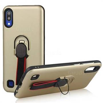 Raytheon Multi-function Ribbon Stand Back Cover for Samsung Galaxy M10 - Golden