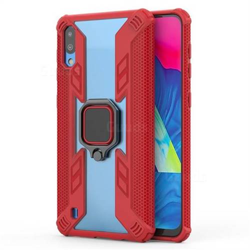 Predator Armor Metal Ring Grip Shockproof Dual Layer Rugged Hard Cover for Samsung Galaxy M10 - Red