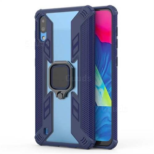 Predator Armor Metal Ring Grip Shockproof Dual Layer Rugged Hard Cover for Samsung Galaxy M10 - Blue