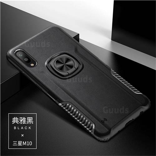 Knight Armor Anti Drop PC + Silicone Invisible Ring Holder Phone Cover for Samsung Galaxy M10 - Black