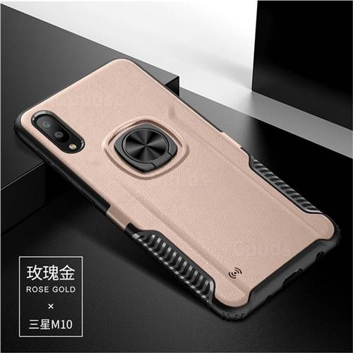 Knight Armor Anti Drop PC + Silicone Invisible Ring Holder Phone Cover for Samsung Galaxy M10 - Rose Gold