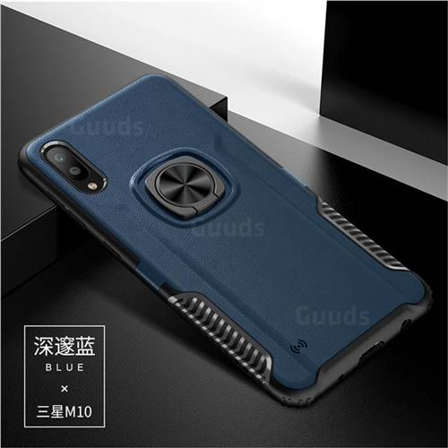 Knight Armor Anti Drop PC + Silicone Invisible Ring Holder Phone Cover for Samsung Galaxy M10 - Sapphire
