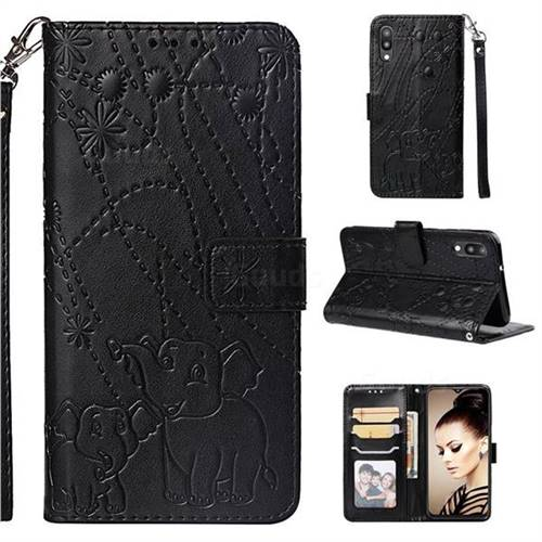 Embossing Fireworks Elephant Leather Wallet Case for Samsung Galaxy M10 - Black
