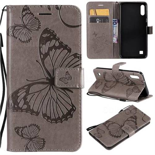 Embossing 3D Butterfly Leather Wallet Case for Samsung Galaxy M10 - Gray