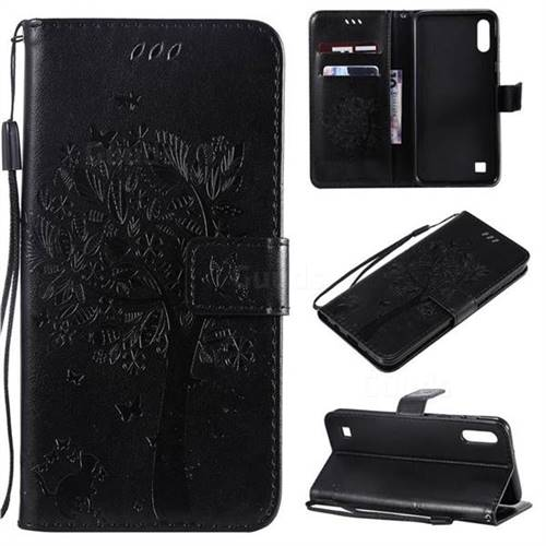 Embossing Butterfly Tree Leather Wallet Case for Samsung Galaxy M10 - Black