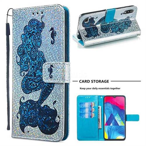 Mermaid Seahorse Sequins Painted Leather Wallet Case for Samsung Galaxy M10