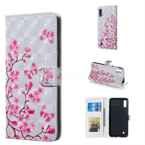 Butterfly Sakura Flower 3D Painted Leather Phone Wallet Case for Samsung Galaxy M10
