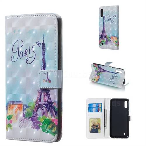 Paris Tower 3D Painted Leather Phone Wallet Case for Samsung Galaxy M10