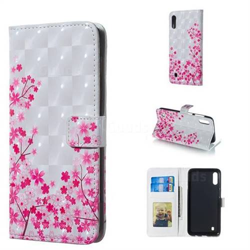 Cherry Blossom 3D Painted Leather Phone Wallet Case for Samsung Galaxy M10