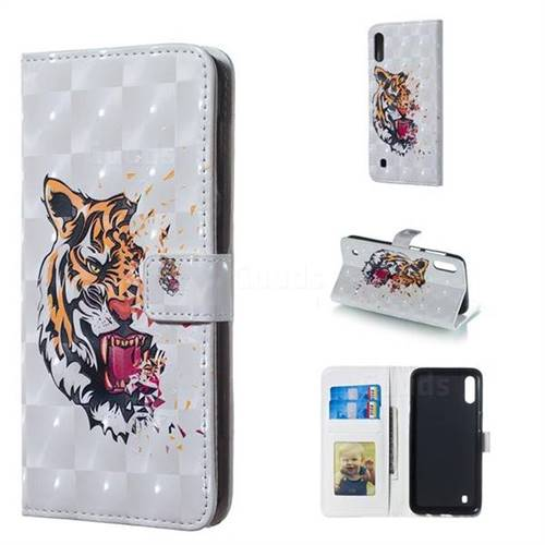 Toothed Tiger 3D Painted Leather Phone Wallet Case for Samsung Galaxy M10