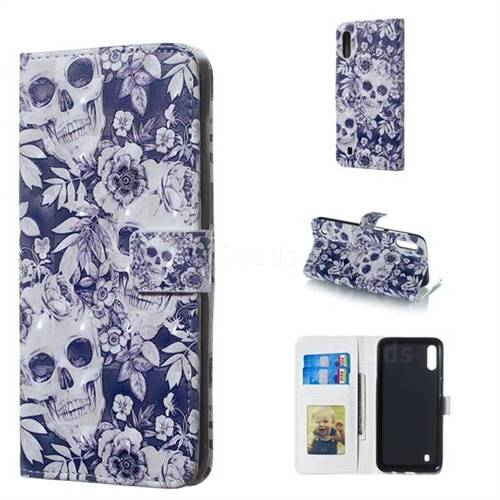 Skull Flower 3D Painted Leather Phone Wallet Case for Samsung Galaxy M10
