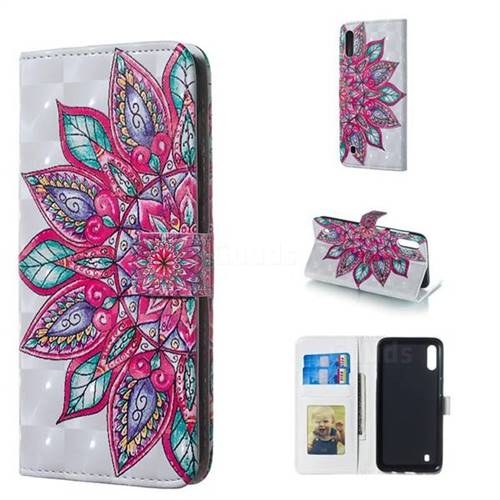 Mandara Flower 3D Painted Leather Phone Wallet Case for Samsung Galaxy M10