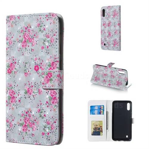Roses Flower 3D Painted Leather Phone Wallet Case for Samsung Galaxy M10