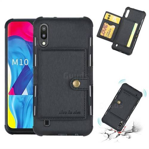 Brush Multi-function Leather Phone Case for Samsung Galaxy M10 - Black