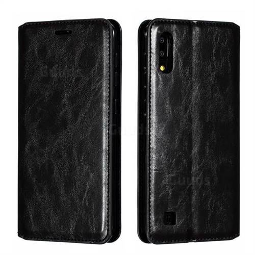 Retro Slim Magnetic Crazy Horse PU Leather Wallet Case for Samsung Galaxy M10 - Black