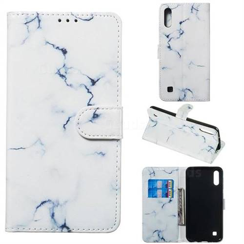 Soft White Marble PU Leather Wallet Case for Samsung Galaxy M10
