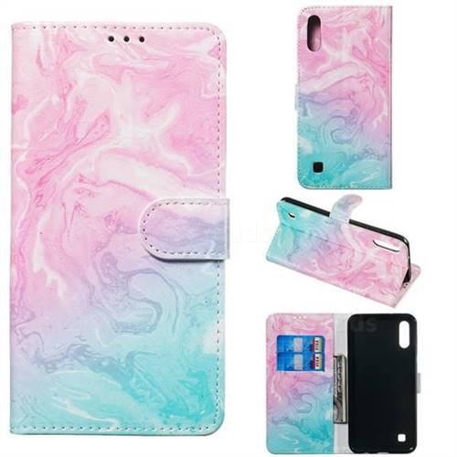 Pink Green Marble PU Leather Wallet Case for Samsung Galaxy M10