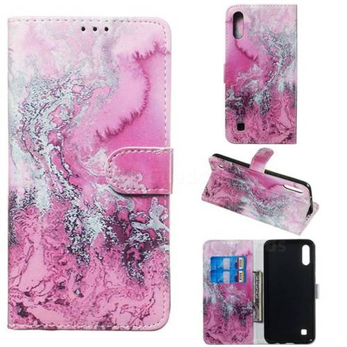 Pink Seawater PU Leather Wallet Case for Samsung Galaxy M10