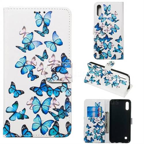 Blue Vivid Butterflies PU Leather Wallet Case for Samsung Galaxy M10