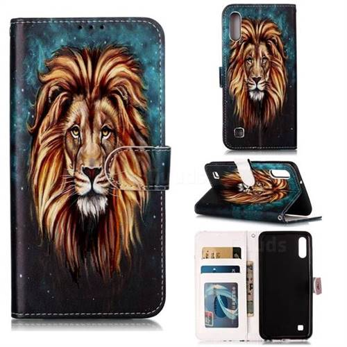 Ice Lion 3D Relief Oil PU Leather Wallet Case for Samsung Galaxy M10
