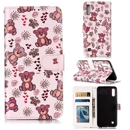 Cute Bear 3D Relief Oil PU Leather Wallet Case for Samsung Galaxy M10