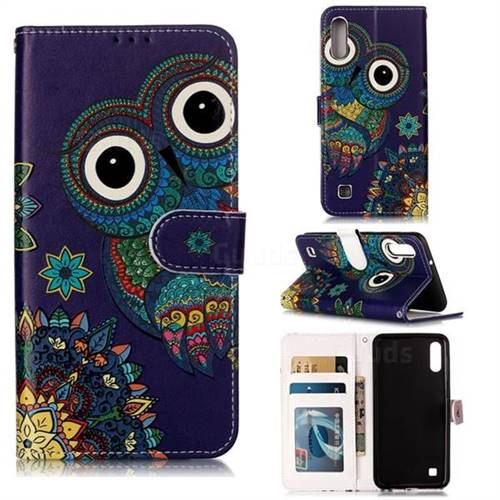 Folk Owl 3D Relief Oil PU Leather Wallet Case for Samsung Galaxy M10