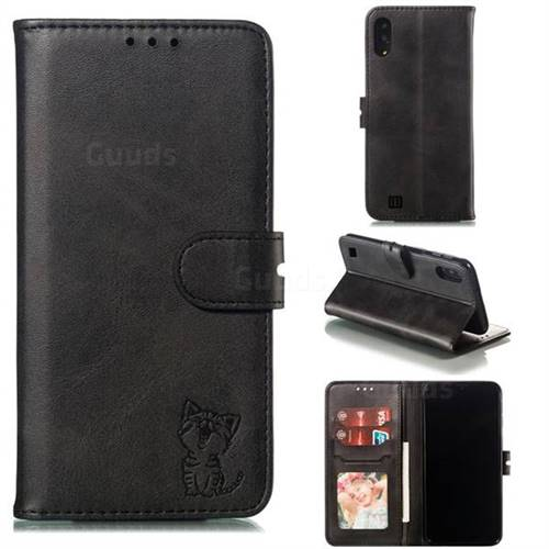 Embossing Happy Cat Leather Wallet Case for Samsung Galaxy M10 - Black