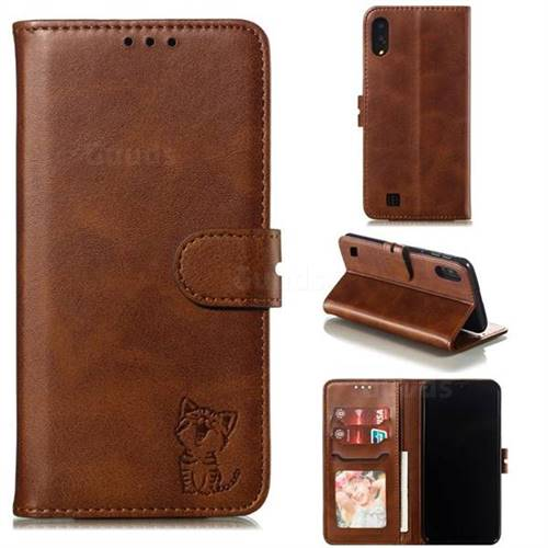 Embossing Happy Cat Leather Wallet Case for Samsung Galaxy M10 - Brown