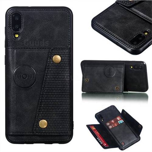 Retro Multifunction Card Slots Stand Leather Coated Phone Back Cover for Samsung Galaxy M10 - Black