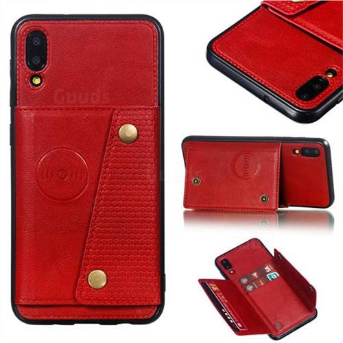 Retro Multifunction Card Slots Stand Leather Coated Phone Back Cover for Samsung Galaxy M10 - Red