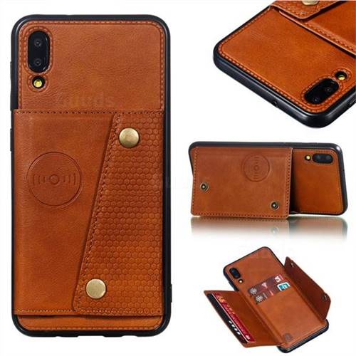 Retro Multifunction Card Slots Stand Leather Coated Phone Back Cover for Samsung Galaxy M10 - Brown