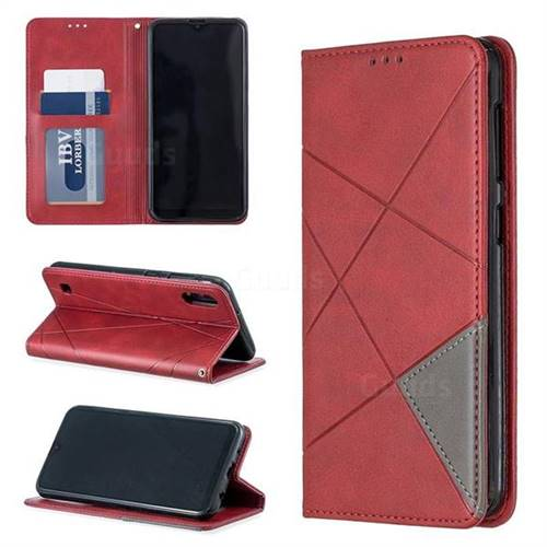 Prismatic Slim Magnetic Sucking Stitching Wallet Flip Cover for Samsung Galaxy M10 - Red