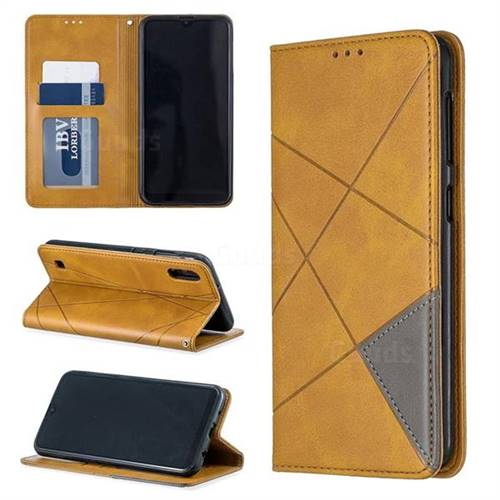 Prismatic Slim Magnetic Sucking Stitching Wallet Flip Cover for Samsung Galaxy M10 - Yellow