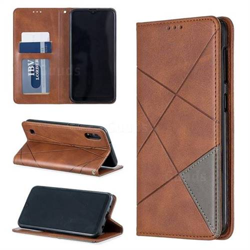 Prismatic Slim Magnetic Sucking Stitching Wallet Flip Cover for Samsung Galaxy M10 - Brown