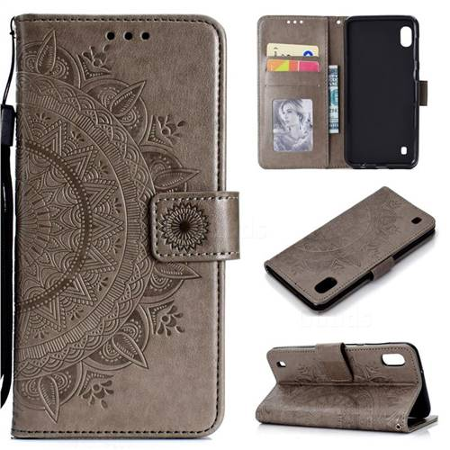Intricate Embossing Datura Leather Wallet Case for Samsung Galaxy M10 - Gray