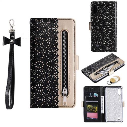 Luxury Lace Zipper Stitching Leather Phone Wallet Case for Samsung Galaxy M10 - Black