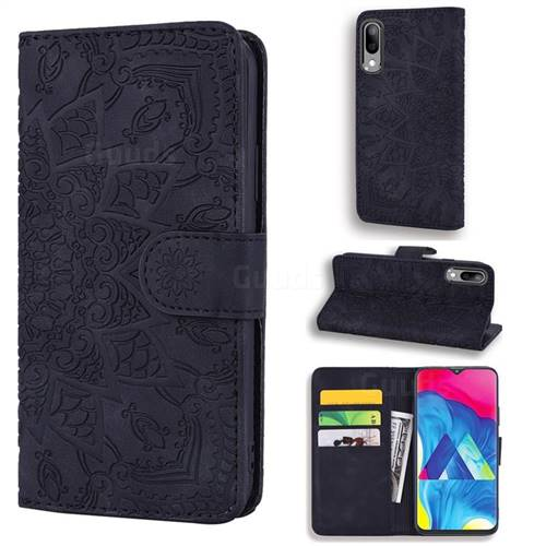 Retro Embossing Mandala Flower Leather Wallet Case for Samsung Galaxy M10 - Black
