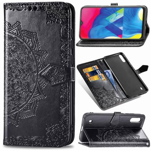 Embossing Imprint Mandala Flower Leather Wallet Case for Samsung Galaxy M10 - Black